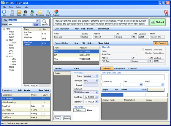 ETran EPay Module Image | ACH and Credit Card Processing